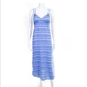 J. Crew Blue & White Stripe Linen Maxi Dress Sz XS